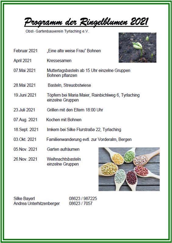 Jahresprogramm Ringelblumen 2021